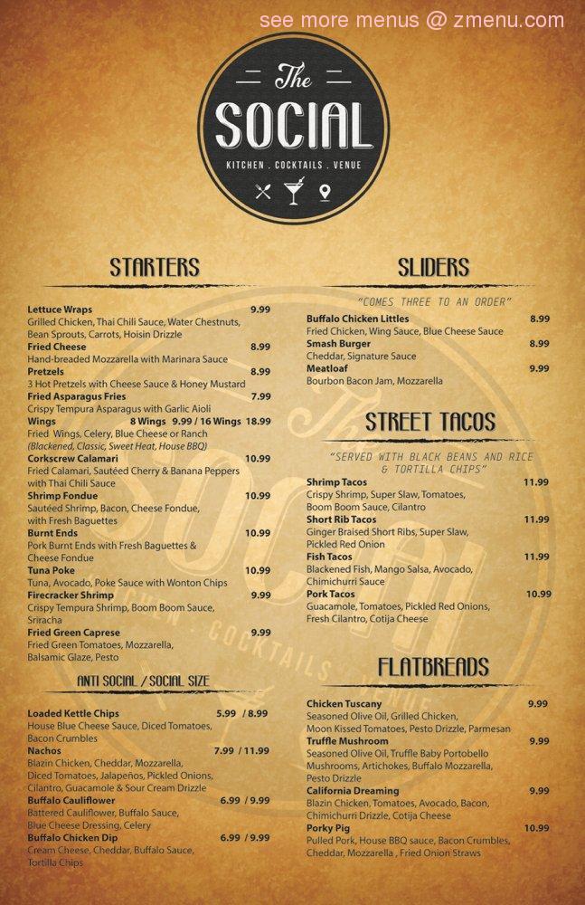 Online Menu Of The Social Restaurant New Port Richey Florida 34652 Zmenu