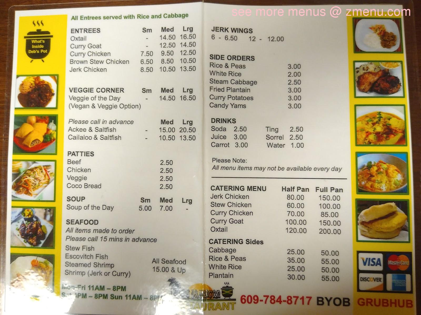 online menu of debs jamaican pot restaurant mount holly