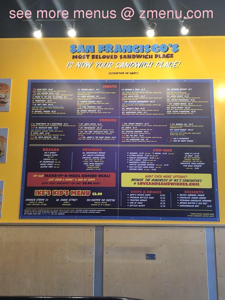 Online Menu Of Ikes Sandwiches Restaurant Cedar Park Texas 78613 Zmenu