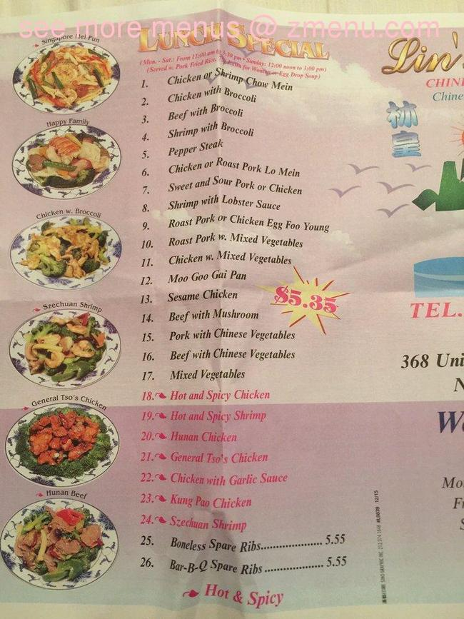 online menu of lins family chinese takeout restaurant new