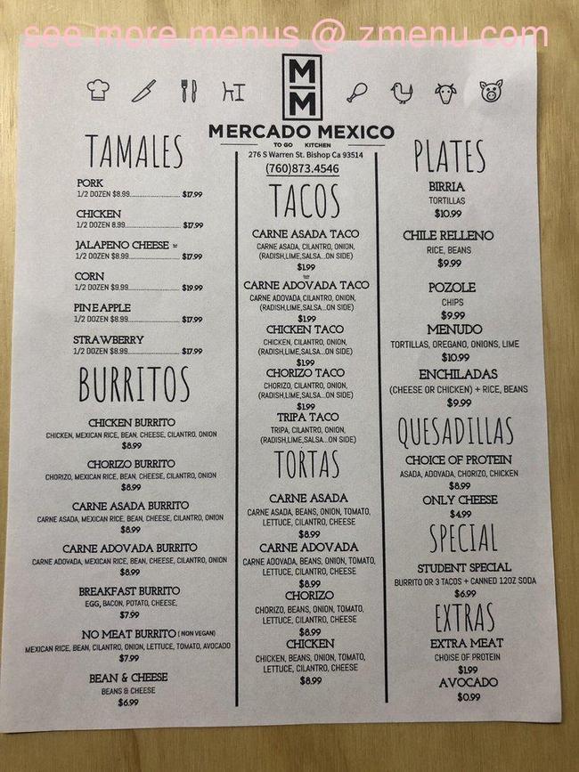 Online Menu of Mercado Mexico Restaurant, Bishop ...