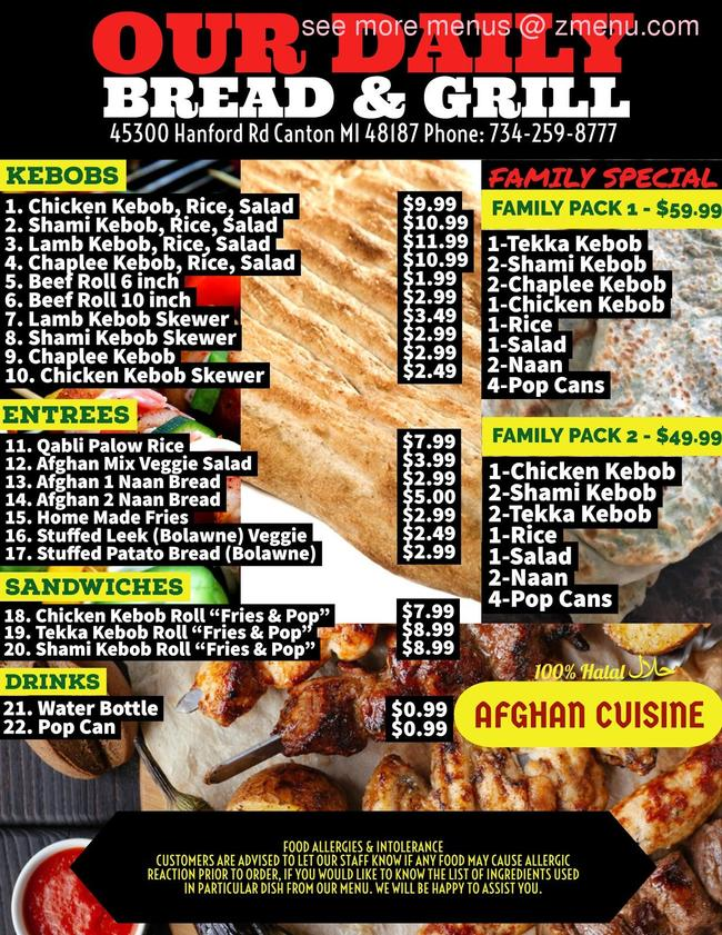 Online Menu Of Our Daily Bread Grill Restaurant Canton