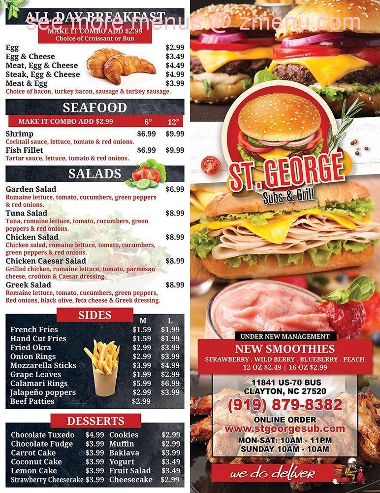 Online Menu Of St George Subs Grill Restaurant Clayton North Carolina 27520 Zmenu
