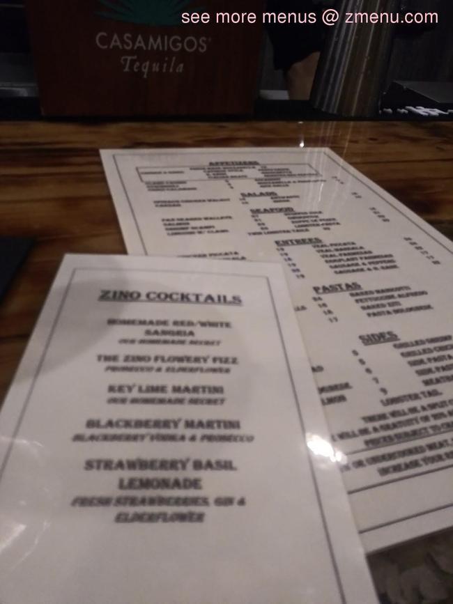 Online Menu Of Zino Ristorante Restaurant Estero Florida