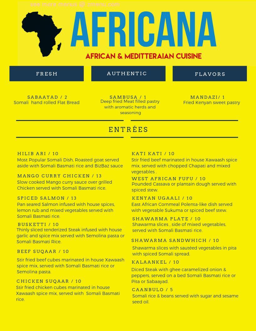 Online Menu Of Africana Halal Restaurant Restaurant Des Moines Iowa 50310 Zmenu
