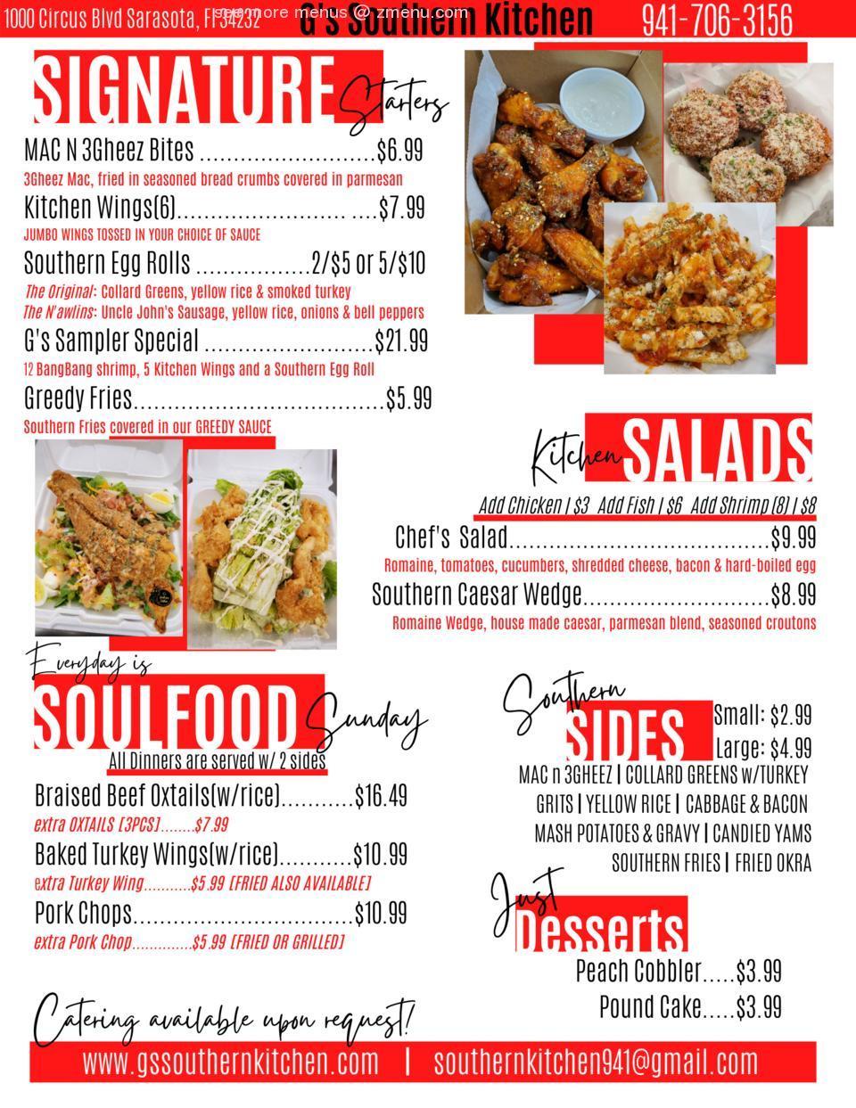 Online Menu Of Gs Southern Kitchen Restaurant Sarasota Florida 34232 Zmenu