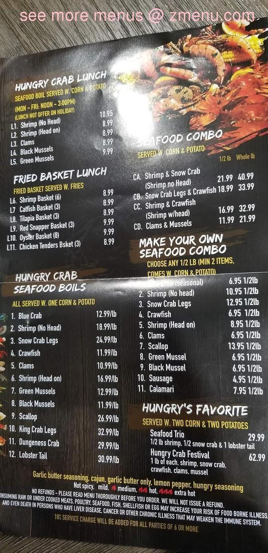 Menu Of Hungry Crab Juicy Seafood Bar