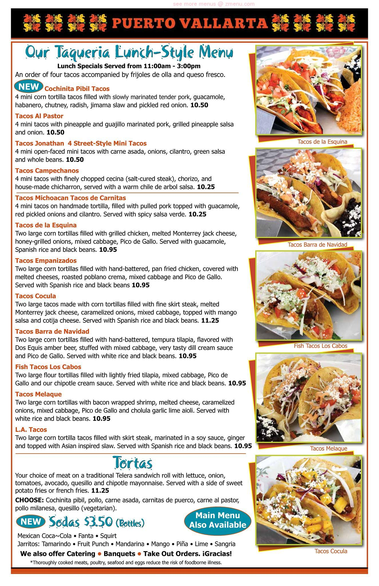 Online Menu Of Puerto Vallarta Restaurant Fairfield Connecticut 06825 Zmenu