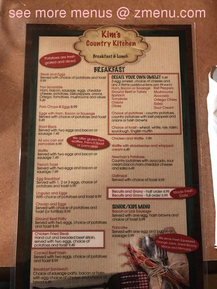 Online Menu Of Kims Country Kitchen Restaurant Lincoln