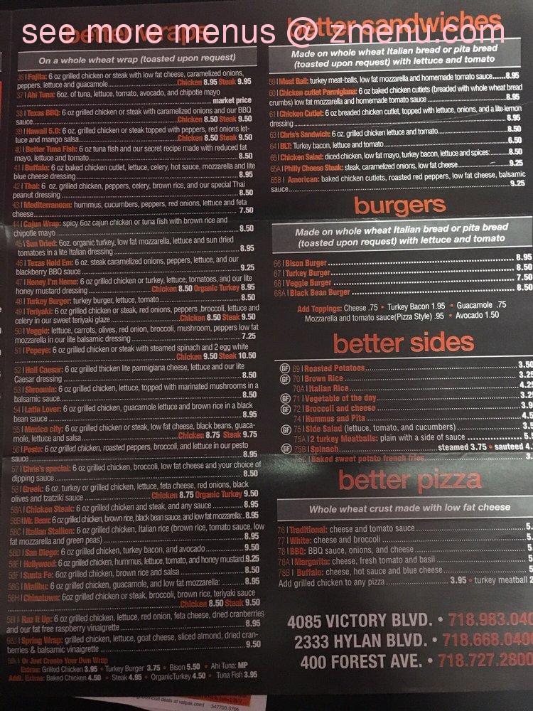 Online Menu Of Better Gourmet Health Kitchen Restaurant Staten Island New York 10306 Zmenu