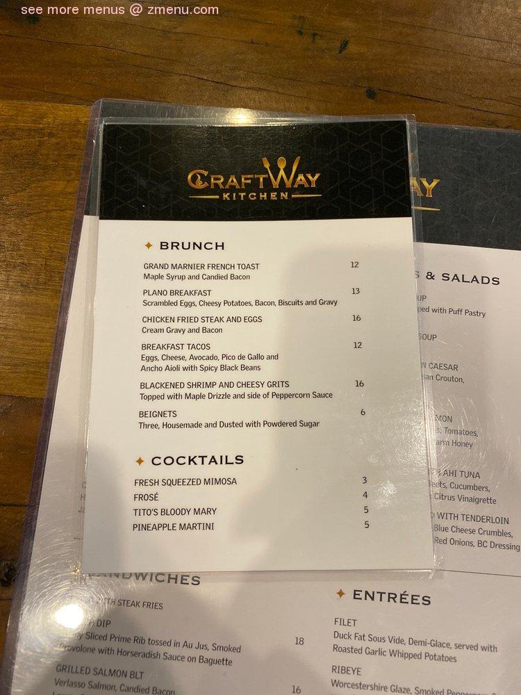 Online Menu Of Craftway Kitchen Restaurant Plano Texas 75093 Zmenu