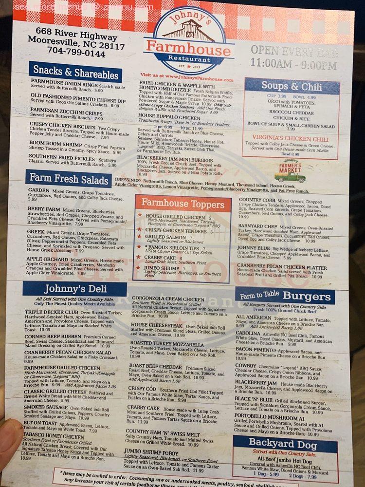 Online Menu Of Johnnys Farmhouse Restaurant Restaurant Mooresville North Carolina 28117 Zmenu