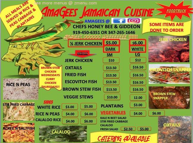 online menu of amagees jamaican cuisine restaurant durham