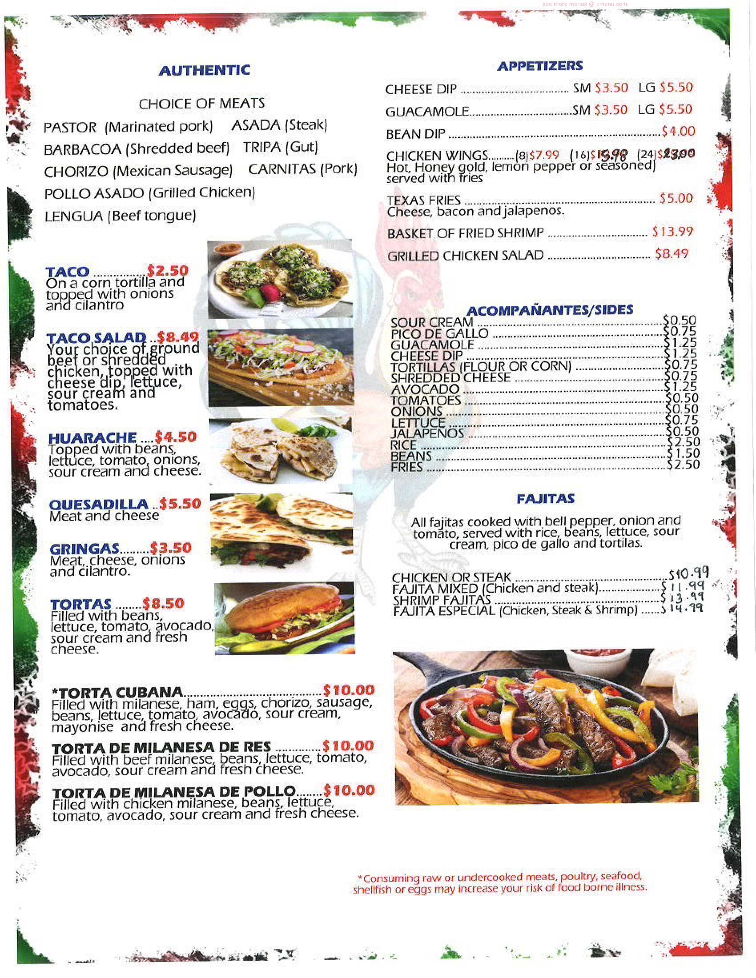 Online Menu Of El Gallito Restaurant Olive Branch Mississippi