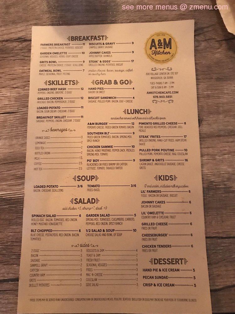Online Menu Of A M Kitchen Restaurant Woodstock Georgia 30188 Zmenu