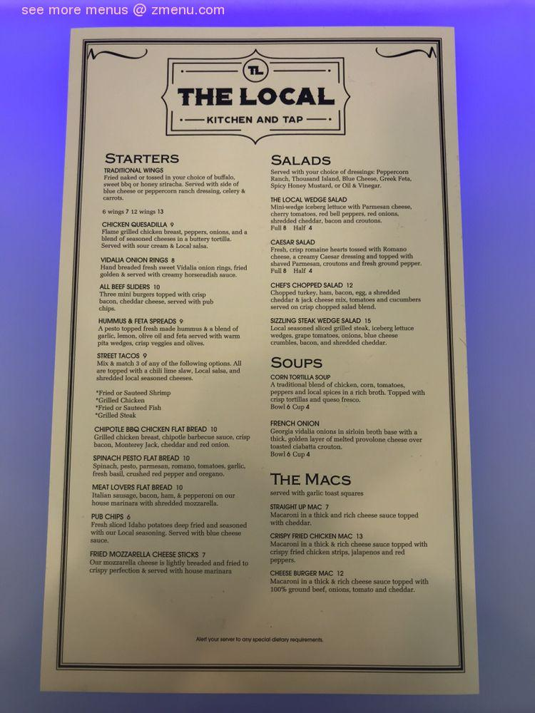 Online Menu Of The Local Kitchen And Tap Restaurant Plainfield Indiana 46168 Zmenu