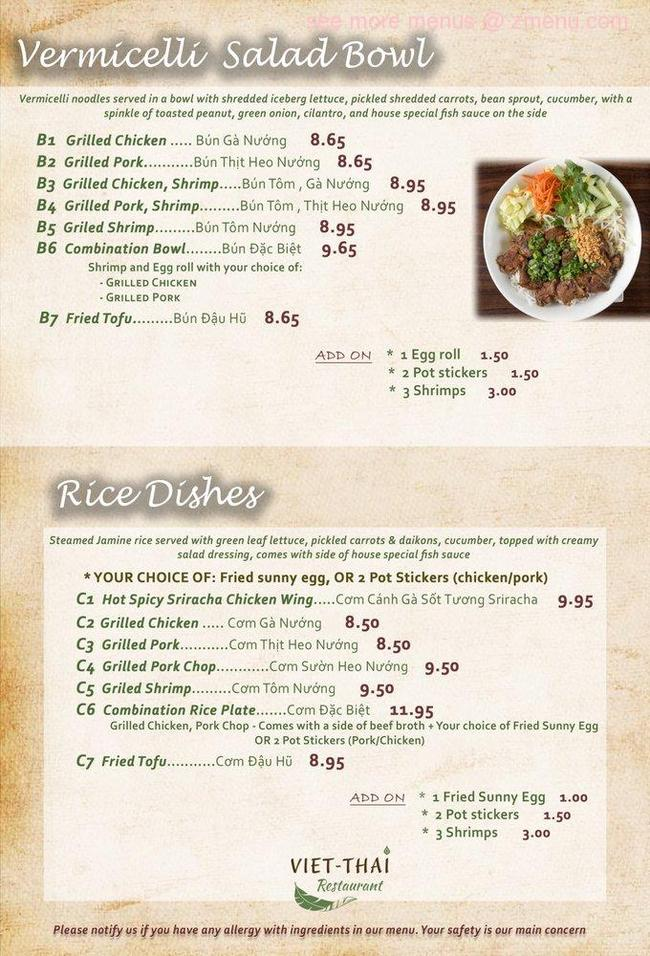 Online Menu Of Pho Viet Thai Restaurant Lakewood Washington 98499 Zmenu