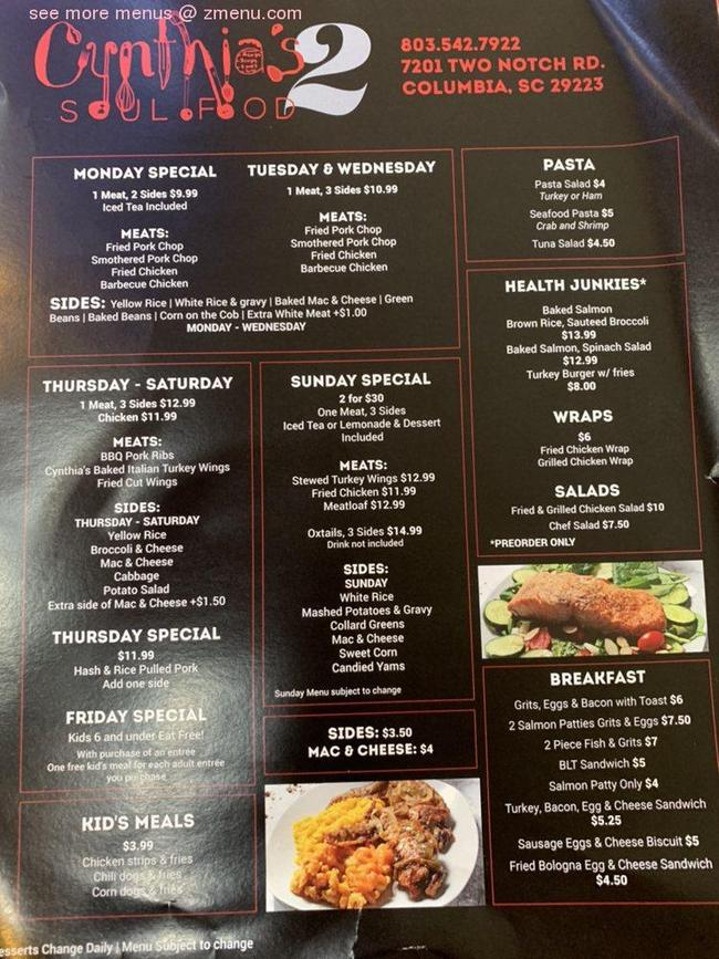 Online Menu of Cynthia SOUL FOOD Restaurant, Columbia ...
