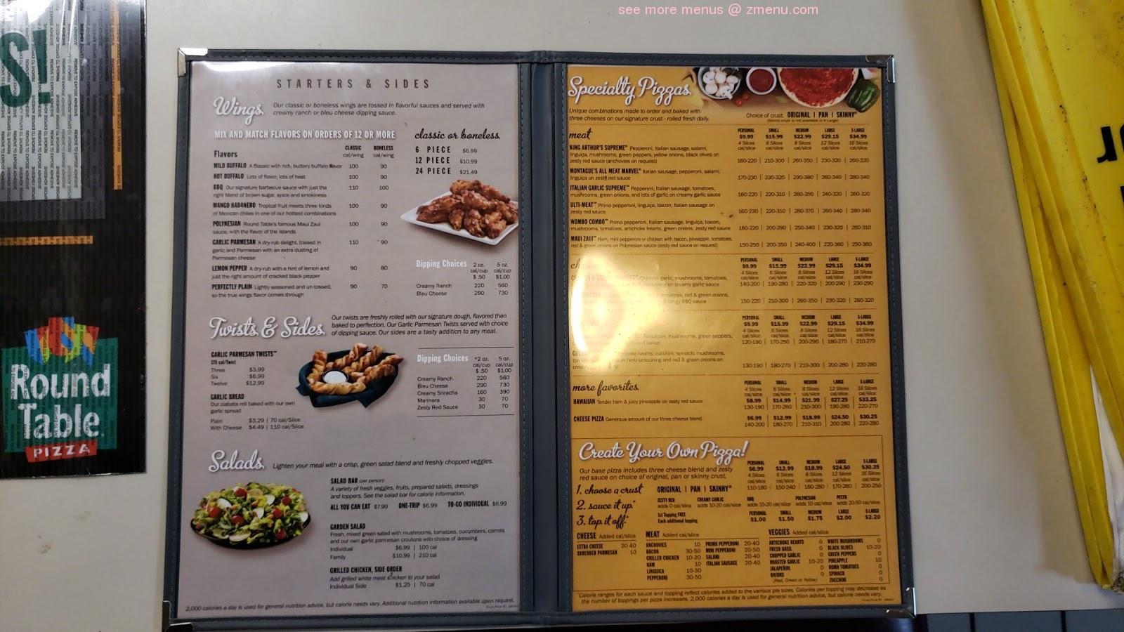 Online Menu Of Round Table Pizza Restaurant Roseville California 95661 Zmenu