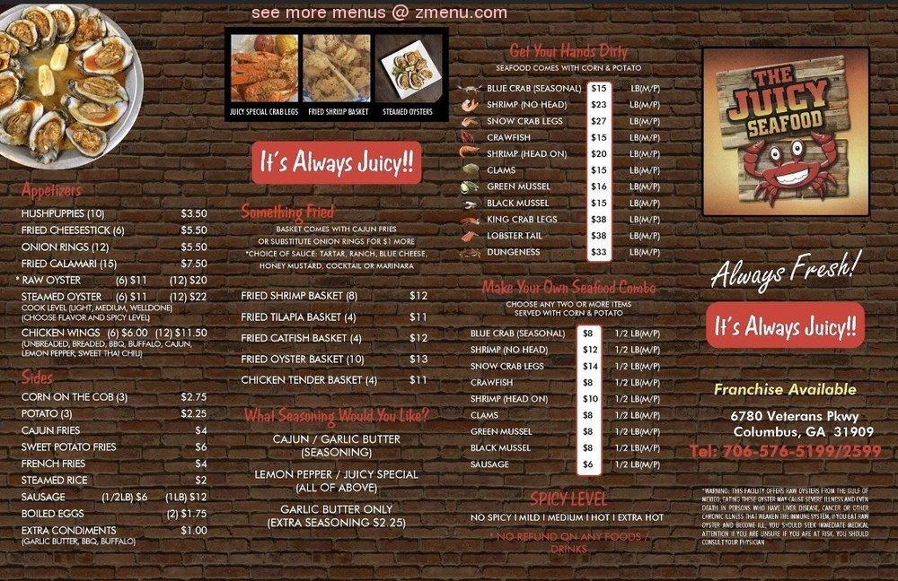 Online Menu Of The Juicy Seafood Restaurant Columbus Georgia 31909 Zmenu