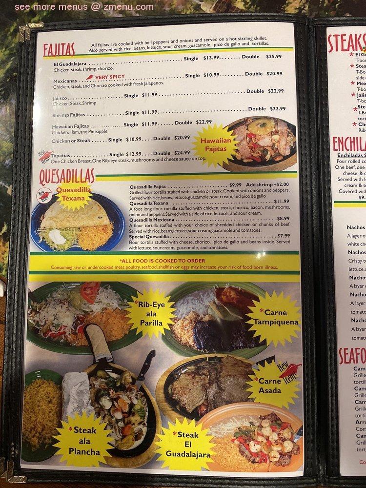 Online Menu Of El Guadalajara Mexican Restaurant Restaurant Collinwood Tennessee 38450 Zmenu