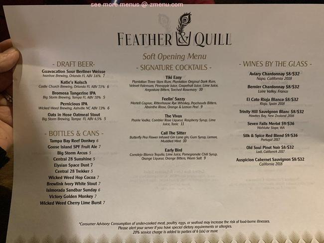 Online Menu of Feather and Quill Restaurant, Windermere ...