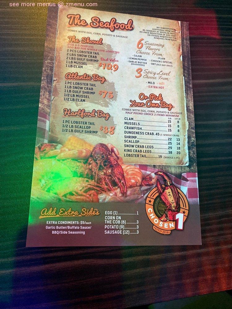 online menu of chosen 1 cajun seafood restaurant