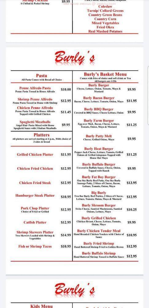Online Menu Of Burlys Burgers Brews Restaurant Southaven Mississippi 38672 Zmenu
