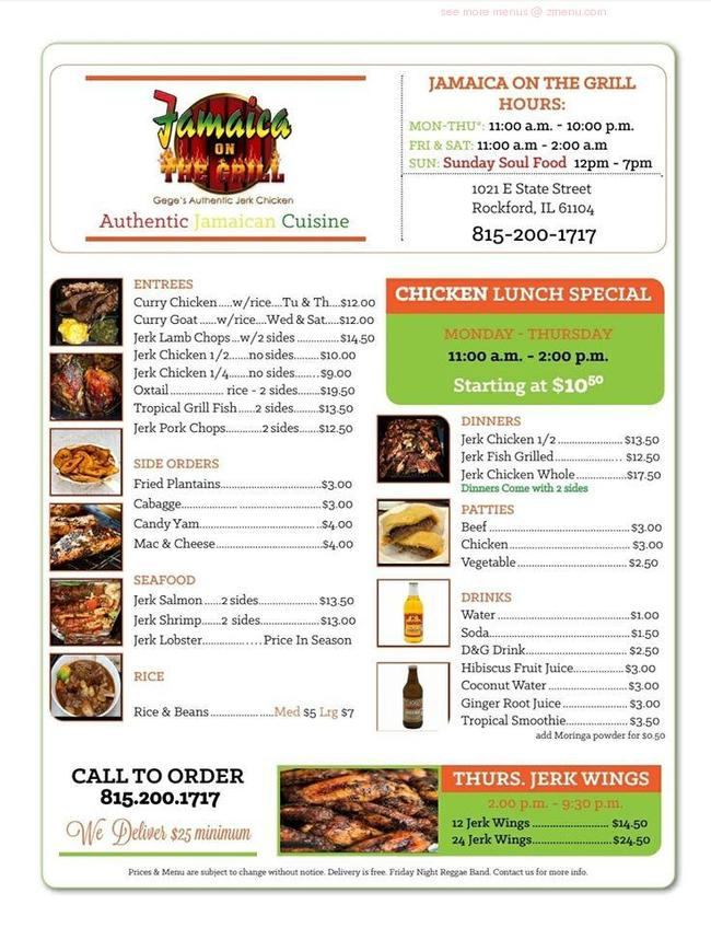 online menu of jamaica on the grill restaurant rockford