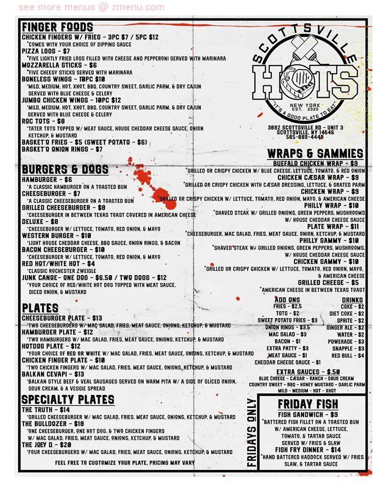 Online Menu of Scottsville Hots Restaurant, Scottsville, New York, 14546 - Zmenu