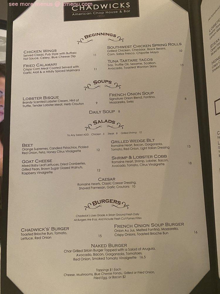 Online Menu Of Chadwicks American Chop House Bar Restaurant Rockville Centre New York 11570 Zmenu