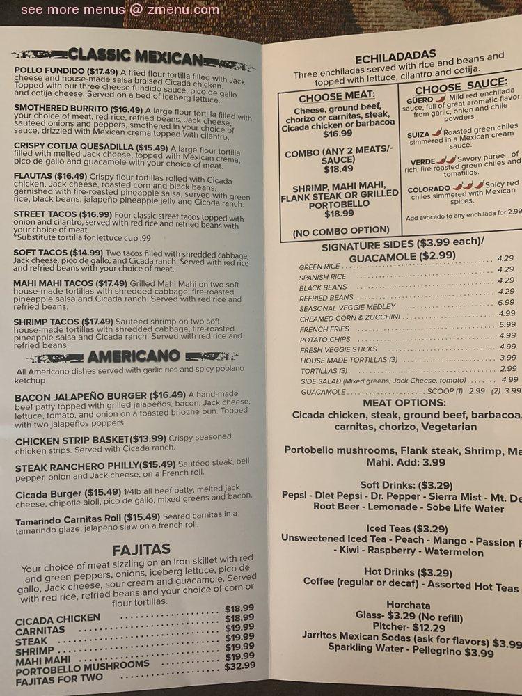 menu cicada cantina elk grove johnnie zmenu restaurant update doesn