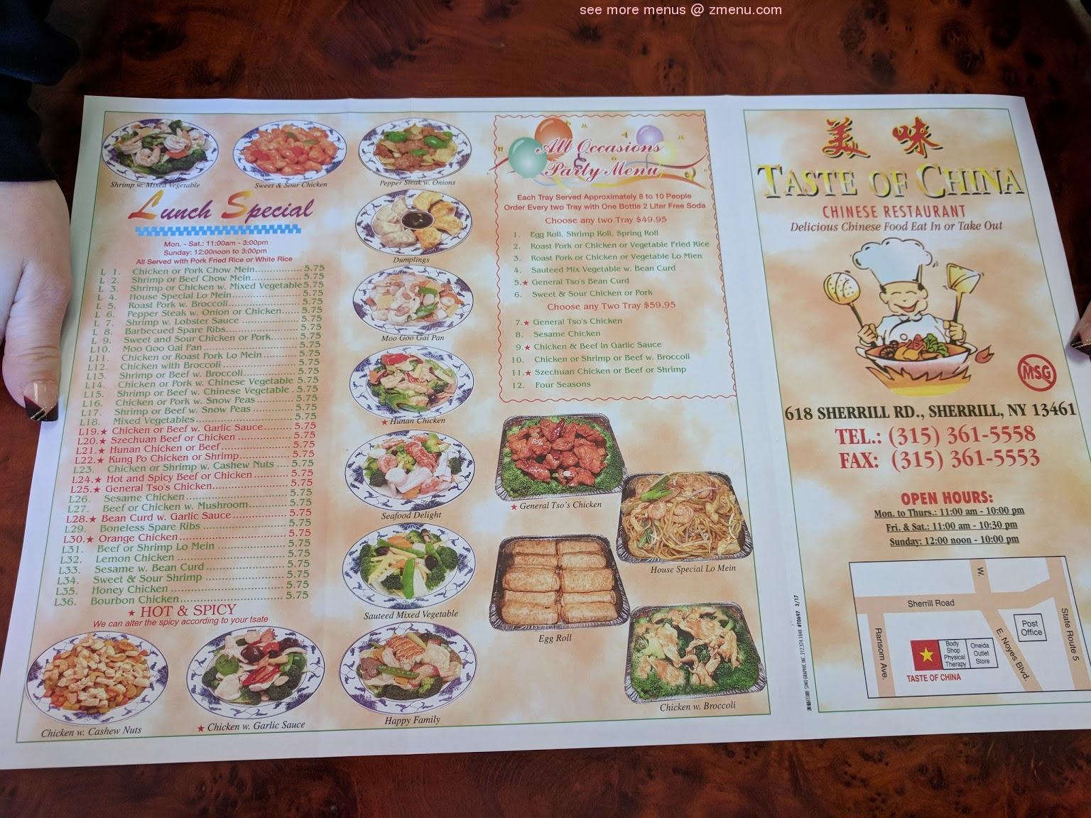 online menu of taste of china restaurant sherrill new