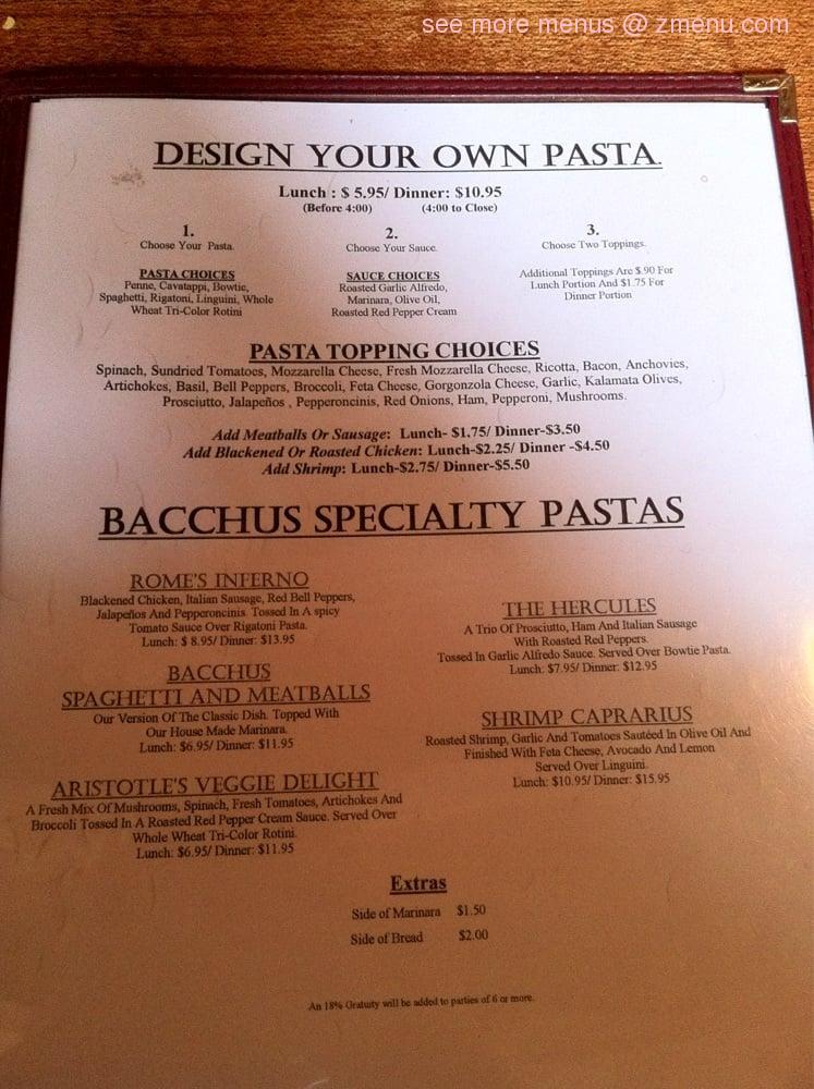 Bacchus Restaurant Menu