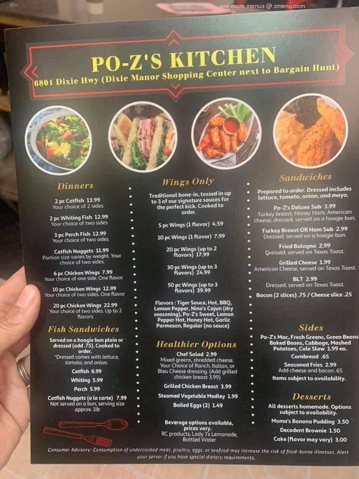 Online Menu Of Po Zs Kitchen Restaurant Louisville Kentucky 40258 Zmenu