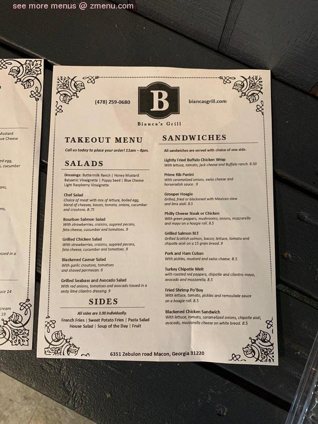 2020: Online Menu Of Biancas Grill Restaurant, Macon, Georgia