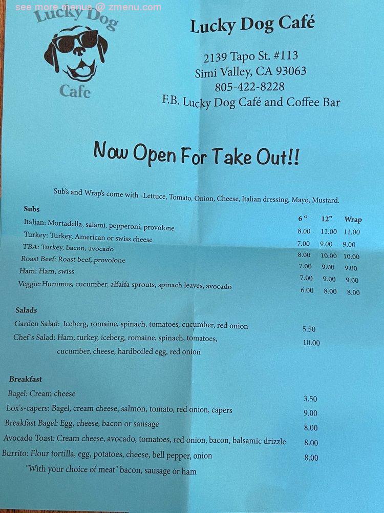 Online Menu Of Lucky Dog Cafe And Coffee Bar Restaurant Simi Valley California 93063 Zmenu
