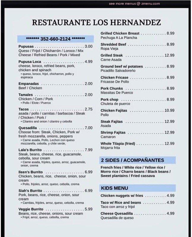 Online Menu of Restaurante Los Hernandez Restaurant ...