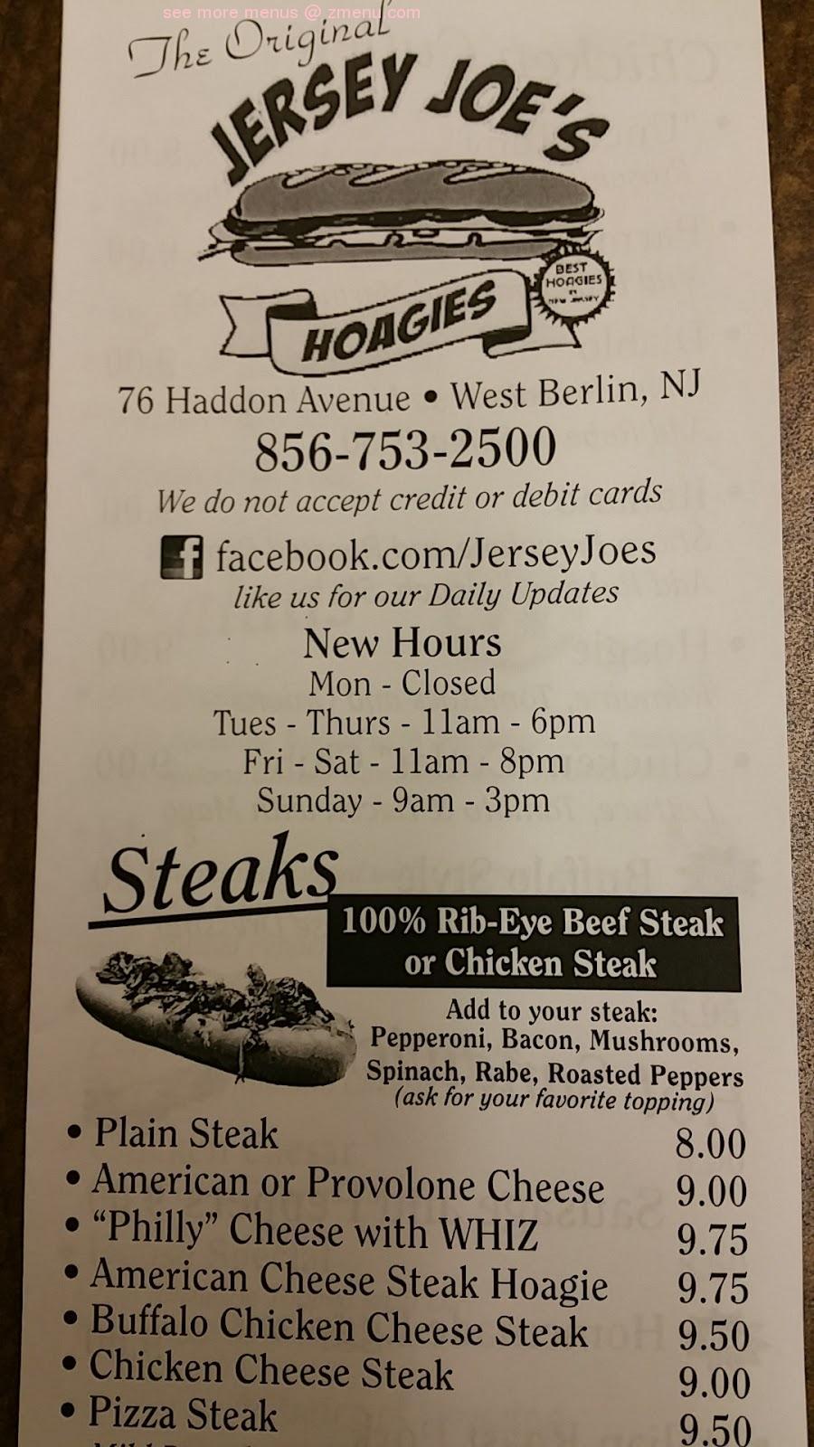 Online Menu of Jersey Joes Hoagies and Deli Restaurant, Berlin ...