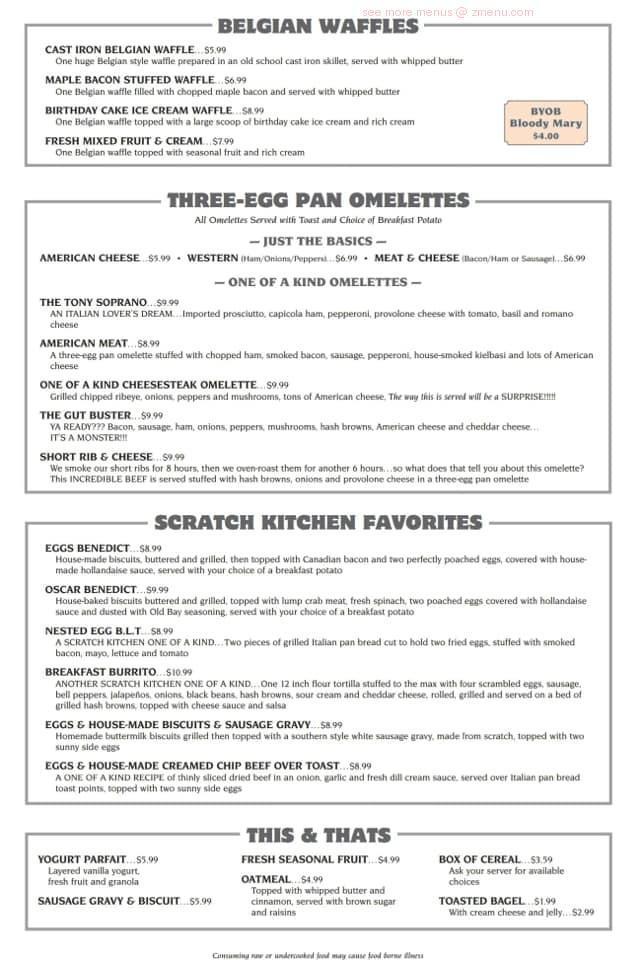 Online Menu Of The Scratch Kitchen Anthracite Room Restaurant Plains Pennsylvania 18702 Zmenu