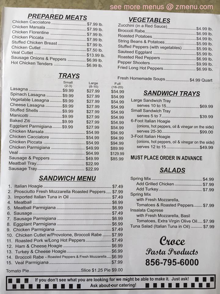Online Menu Of Croce S Restaurant Cherry Hill New Jersey