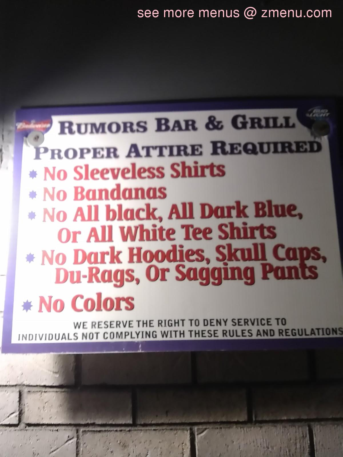 Rumors Bar And Grill >> Online Menu Of Rumors Bar Grille Restaurant Clementon New Jersey