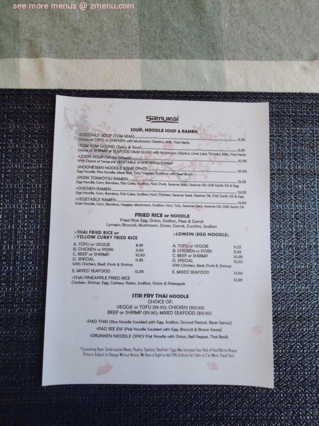 Online Menu of Samurai Restaurant, Johnson City, Tennessee ...