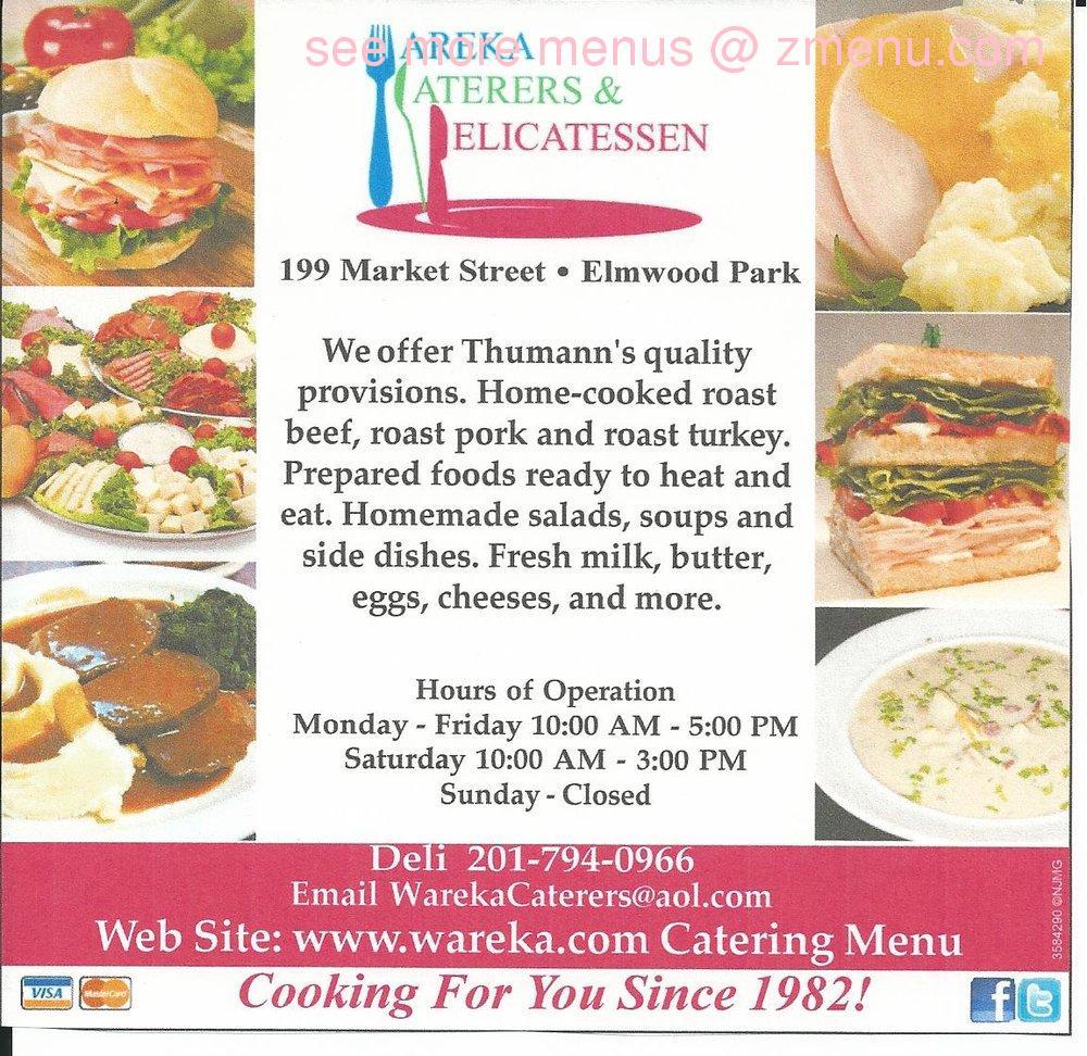 Online Menu of Wareka Caterers & Delicatessen Restaurant, Elmwood ...