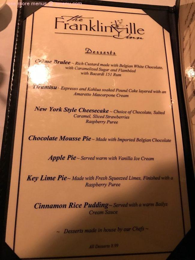 Online Menu of Franklinville Inn Restaurant, Franklinville ...