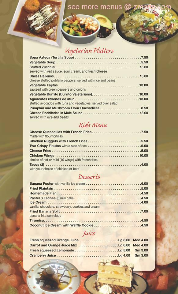 El Nuevo Mariachi Restaurant Menu