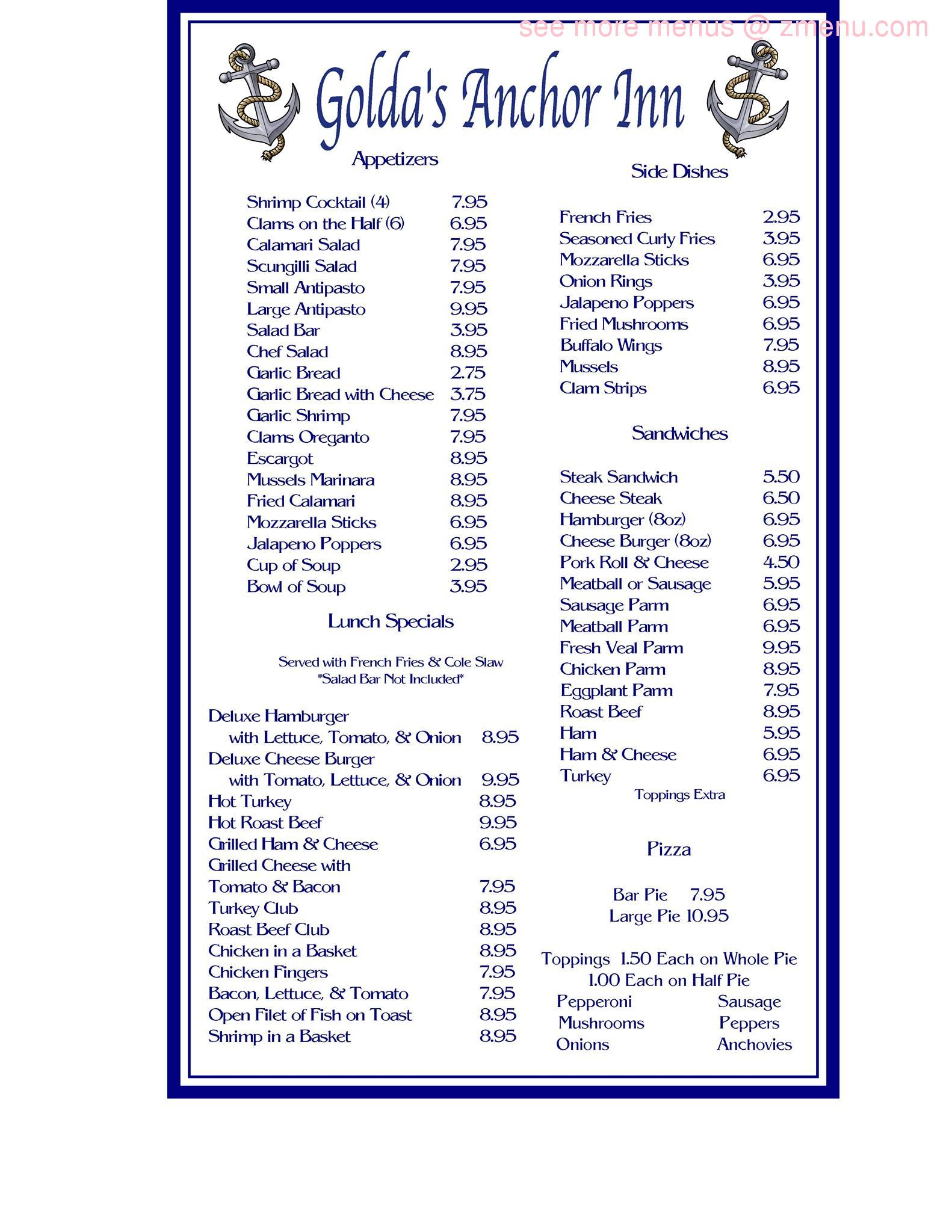 Anchor Inn Restaurant Ocean Gate Nj Menu
