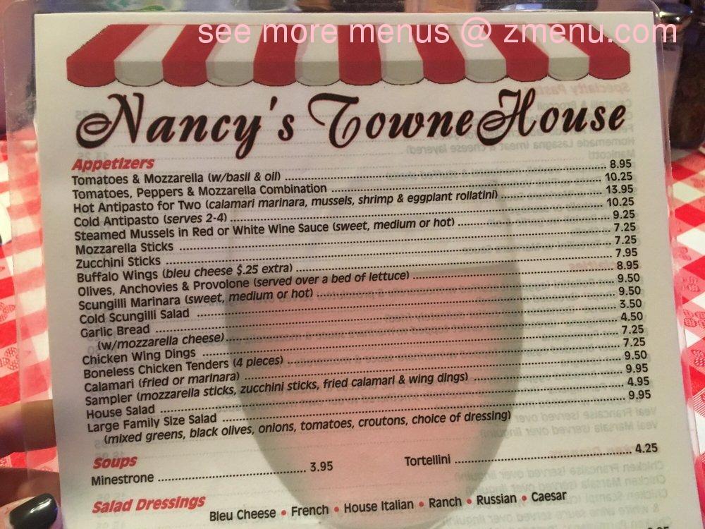 Online Menu of Nancys Towne House Restaurant, Rahway, New