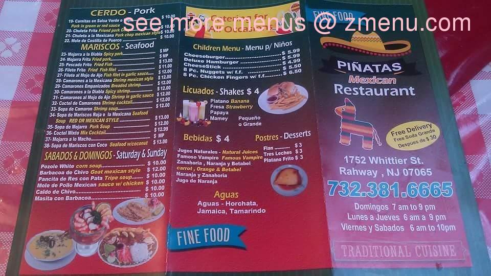 Online menu of las pinatas restaurant rahway new jersey for Ted s fish fry menu