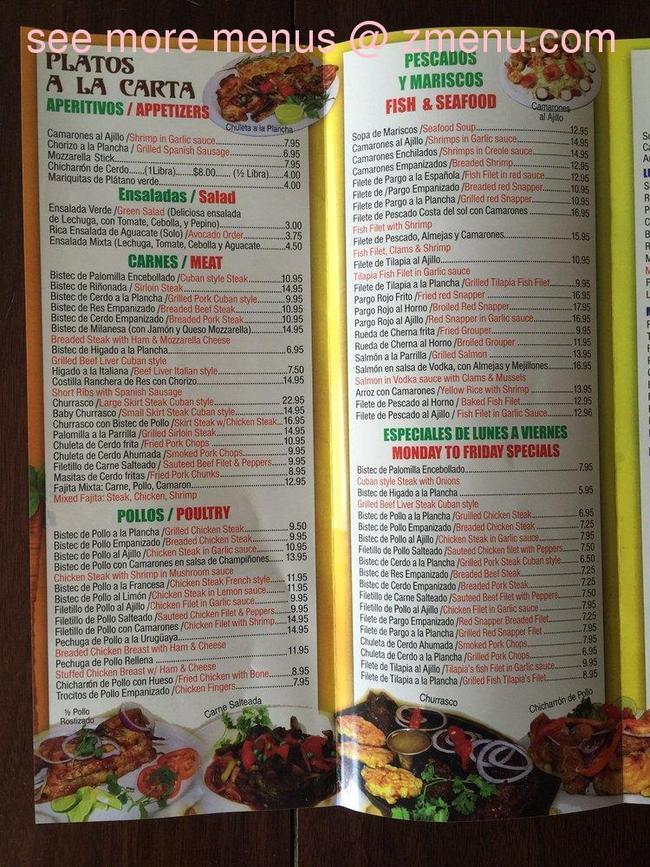 Latin American Restaurant Union City Menu
